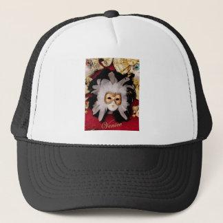 White / Red / Gold / Black Venetian Mask Trucker Hat