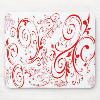 White & Red Mouse Pad