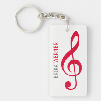 white red musical key-chain with name and initials keychain