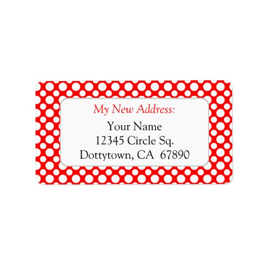 White Red Polka Dots Custom New Address Lables