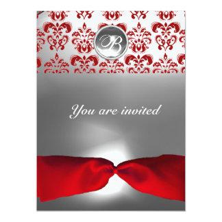"WHITE RED RIBBON DAMASK GEM STONE MONOGRAM 6.5"" X 8.75"" INVITATION CARD"
