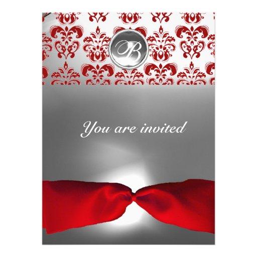 WHITE RED RIBBON DAMASK GEM STONE MONOGRAM PERSONALIZED INVITATION