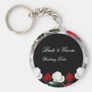 White & Red Roses Bride & Groom Wedding Favor 1 Keychain