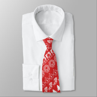 White/Red Rows Christmas Font Art Pattern Tie