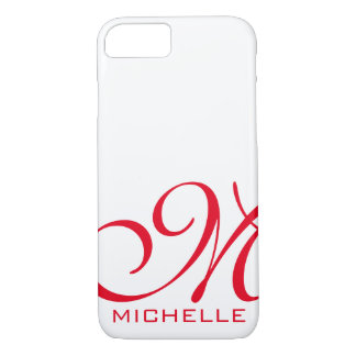 White Red Script Monogrammed iPhone 8/7 Case