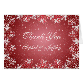 White red snowflakes on red Wedding Thank You Card