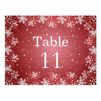 White red snowflakes wedding table number card postcard