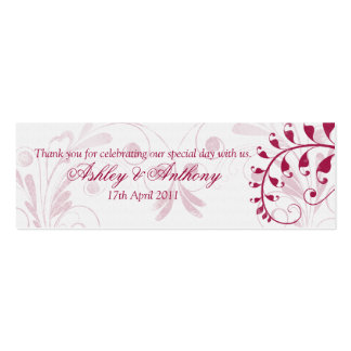 White Red Vintage Floral Wedding Favour Tags Pack Of Skinny Business Cards