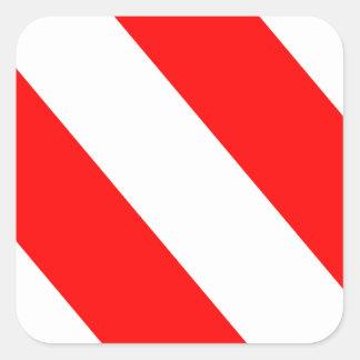 White Red Warning Stripes Square Sticker