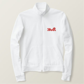 White/Red XWP Embroidered Fleece Zip Jogger Jacket