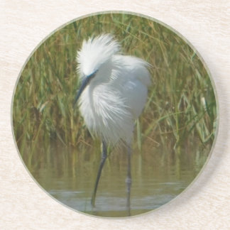 White Reddish Egret Coaster