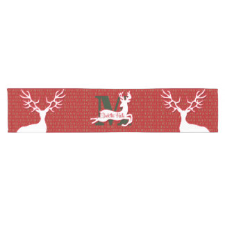 White Reindeer Deck the Halls Monogram Short Table Runner