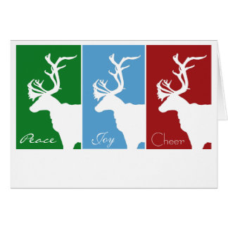 White Reindeer, Peace, Joy, Cheer Card