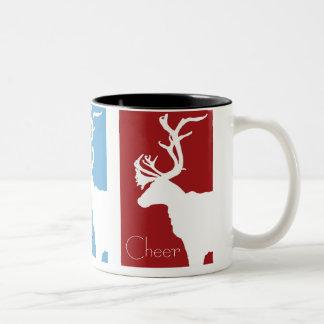 White Reindeer, Peace, Joy, Cheer Two-Tone Coffee Mug