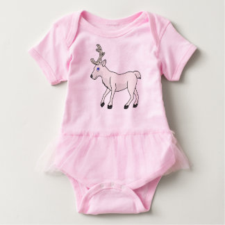 White Reindeer with Antlers Baby Bodysuit