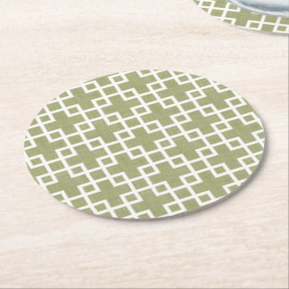 White Retro Chic Squares Pattern On Olive Green Round Paper Coaster