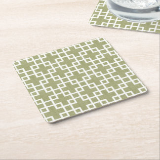 White Retro Chic Squares Pattern On Olive Green Square Paper Coaster