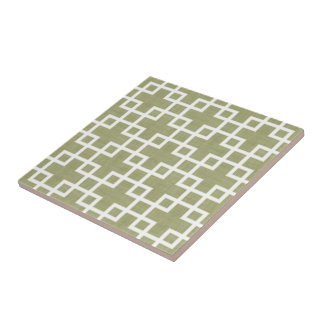 White Retro Chic Squares Pattern On Olive Green Tile