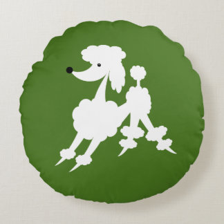 White Retro French Poodle on Moss Green Round Pillow