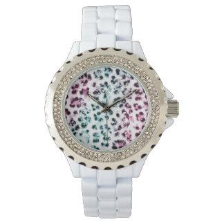 White Rhinestone Leopard Print Watch
