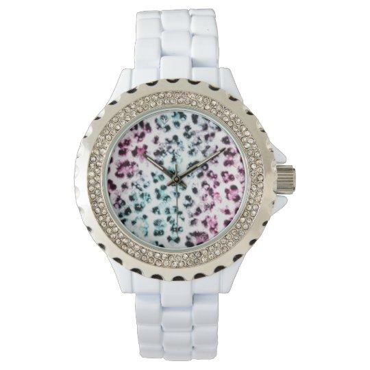 White Rhinestone Leopard Print Wristwatch