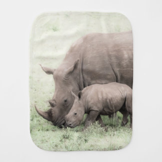 White Rhino & Baby Burp Cloth