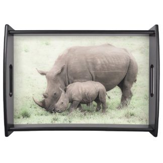 White Rhino & Baby Serving Tray