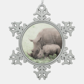 White Rhino & Baby Snowflake Ornament