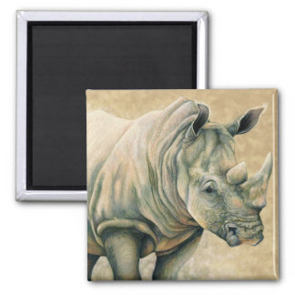 White Rhino Square Magnet