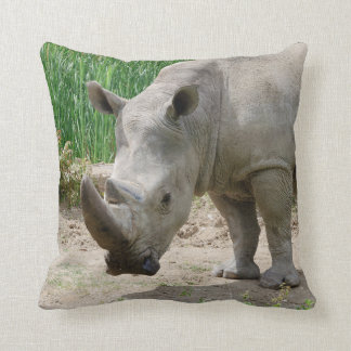 White Rhinoceros Ceratotherium Simum Throw Pillow