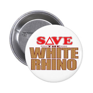 White Rhinoceros Save 2 Inch Round Button