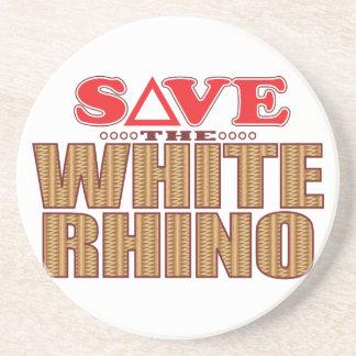 White Rhinoceros Save Beverage Coasters