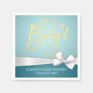 White Ribbon Gold Script Turquoise Baby Shower Paper Napkins