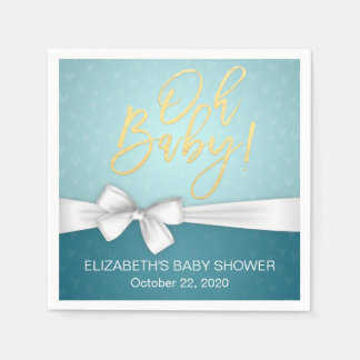 White Ribbon Gold Script Turquoise Baby Shower Paper Napkins