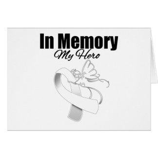 White Ribbon In Memory of My Hero Greeting Card