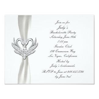 White Ribbon Silver Swan Bachelorette Party Invite