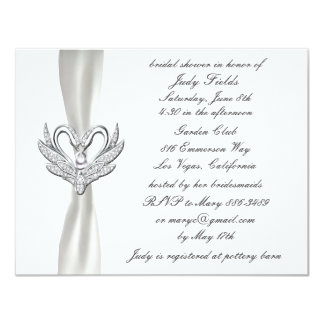 White Ribbon Silver Swans Bridal Shower Invitation