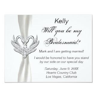 White Ribbon Silver Swans Bridesmaid Card