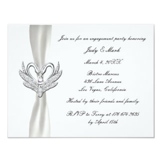 White Ribbon Silver Swans Engagement Party Invite