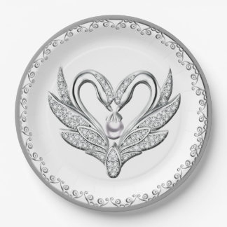 White Ribbon Silver Swans Paper Plate