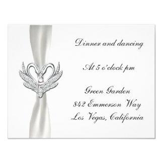 White Ribbon Silver Swans Reception Card