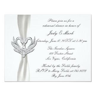 White Ribbon Silver Swans Rehearsal Dinner Invite