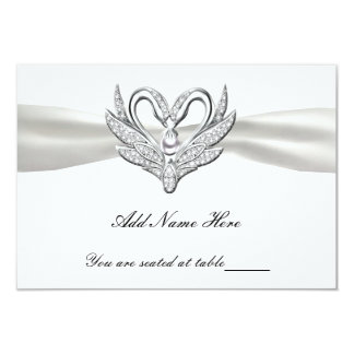 White Ribbon Silver Swans Table Place Card