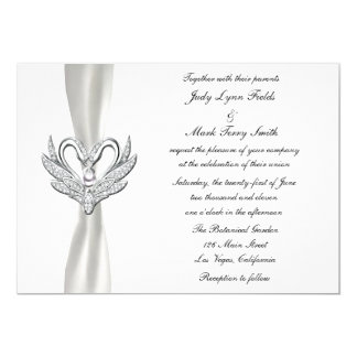 White Ribbon Silver Swans With A Pearl Invitation