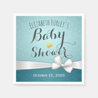 White Ribbon Turquoise Baby Shower Paper Napkin
