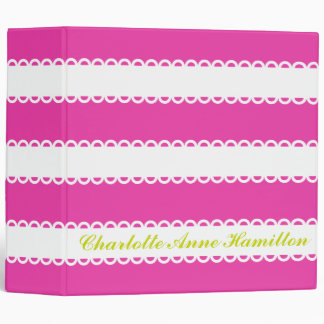 White Ribbons on Diva Pink Personalized Vinyl Binder