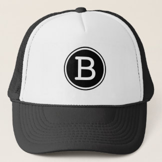 White Ring Black Circle Monogram Trucker Hat