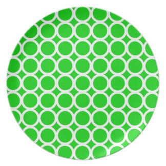 White Rings on Bright Summer Green Plate