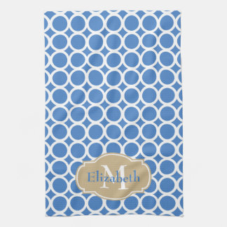 White Rings on Coastal Blue Monogram Kitchen Towel
