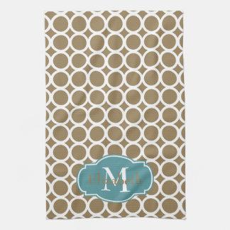 White Rings on Khaki Monogram Kitchen Towel